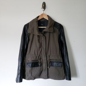 Forever 21 Olive Leather Faux Utility Jacket Small
